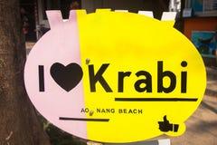 I love krabi sign in Ao Nong city , Krabi Thailand. I love krabi sign in Ao Nong city  Krabi Thailand Royalty Free Stock Photo