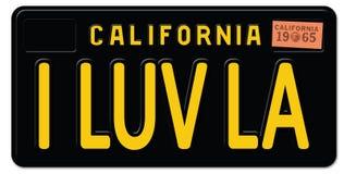 I love LA Los Angeles California License Plate retro vintage. Car LAX metal logo art vector illustration