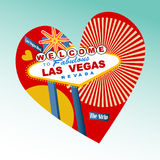 I love Las Vegas Icon. Heart with icon Welcome to Fabulous Las Vegas sign Royalty Free Stock Photo