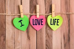 I love life heart shaped note royalty free stock photo