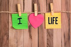 I love life heart shaped note royalty free stock images