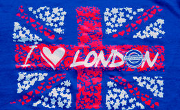 I Love London. an inscription on UK flag background Stock Image
