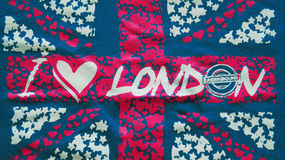 I Love London. an inscription on UK flag background Stock Photo