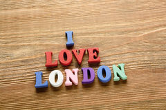 I Love London   letters   on   wood Royalty Free Stock Photo