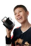 I love loud music. Funny photo of the boy with radio reciever stock photography