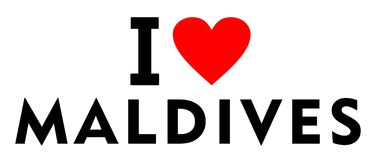 I love Maldives. Country text red heart message Stock Image