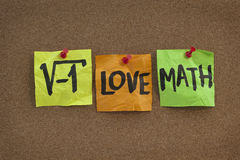 I love math - concept on bulletin board. Square root of negative number - I love math humorous concept, colorful sticky notes, handwriting on cork bulletin board stock image