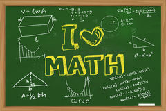 I Love Math. Educational concept the words I Love Math with mathematics formula doodle written with chalk on green chalkboard royalty free stock image