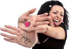 I love Me. Beautiful lady with a notice on her hands I love me royalty free stock photo