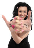 I love Me Doll. Beautiful lady with a sign on her hands I love me stock photo