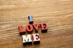 I Love Me Letters On Wood Stock Photography