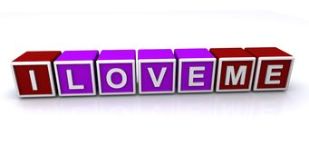 I love me sign. 3d letter block spelling the words I love me, white background Royalty Free Stock Images