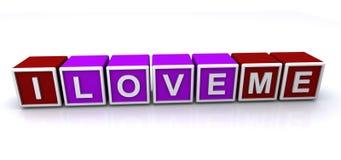 I love me sign. 3d letter block spelling the words I love me, white background vector illustration