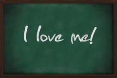I love me. Written on green chalkboard Stock Photo