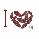 I love meat. Heart symbol steaks. Pieces of fried pork or beef. Stock Photo