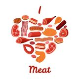 I love meat set. Bacon, chicken, ham, smoked pork, jamon illustration. Cartoon style. Vector Stock Image