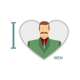I love men. Male and symbol of heart. Vector illustration of a m royalty free illustration