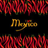 I love Mexico lettering and Red hot chili peppers frame border. Isolated on black background. Vector illustration Royalty Free Stock Image