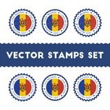 I Love Moldova, Republic of vector stamps set. Stock Images