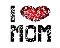 I love mom. Sign with a cracked heart Royalty Free Stock Photography