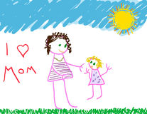 I love Mom. Child's drawing of mom and herself Royalty Free Stock Photo