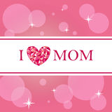 I love mom card. In pink for mothers day Stock Photo