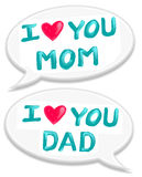 I love mom dad. I love you mom dad text in speech bubble illustration of oil color painting Royalty Free Stock Photography