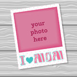I love Mom. Decorative template frame design for photo Mother's Day. Royalty Free Stock Photos