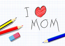 I love mom, drawing by a child Royalty Free Stock Photos