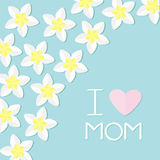 I love mom. Greeting card with heart. Plumeria Tropical flower icon set. Royalty Free Stock Images