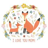 I Love Mom greeting card with a Mother fox and her baby Royalty Free Stock Image
