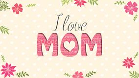 I love MOM greeting card. Word MOM formed by word cloud of different colors on yellow background with white hearts, Stock Photography