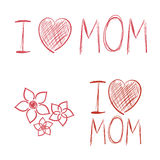 I love Mom hand drawn elements kids drawing Royalty Free Stock Images