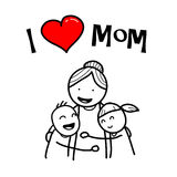 I Love Mom. A hand drawn vector doodle illustration of children hugging their mother Stock Photo
