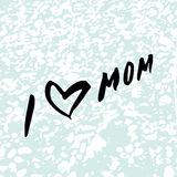 I Love mom. Heart. Happy Mother`s Day Greeting Card. Black Brush lettering.Calligraphy Inscription. Blue stone marble texture. Vector illustration Royalty Free Stock Image