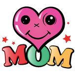 I love mom. Illustration with happy heart Royalty Free Stock Images