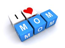 I love mom. Letters blocks spelling the words I love mom on a white background Royalty Free Stock Photography