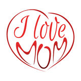 I love mom. Mothers Day lettering design. I love mom. Lettering card. Mothers Day design. Vector illustration isolated on white background Royalty Free Stock Photos