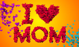 I love Mom Particles Heart Shape 3D orange background Stock Images