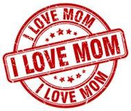 I love mom red grunge round vintage stamp. I love mom red grunge round vintage rubber stamp Royalty Free Stock Photo