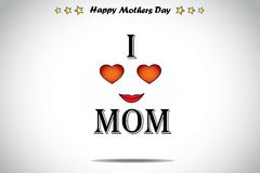 I love mom red love heart abstract mothers day illustration art Royalty Free Stock Photography