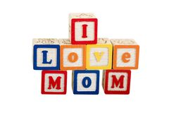I Love Mom on white with path. I Love Mom on white in block letters on white royalty free stock image
