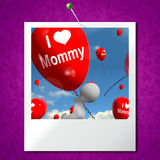 I Love Mommy Photo Balloons Shows Affectionate Feelings for Moth Stock Images