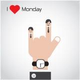 I love monday concept.Cartoon and businessman symbol Royalty Free Stock Photo