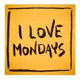 I love Mondays on sticky note. I love Mondays - positive declaration or reminder on an isolated sticky note Stock Photo