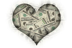 I love money. Concept image: I heart money or I love money stock illustration