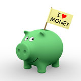 I love money. Green piggybank with I love money written on a flag (3D rendering) - A clipping path is embedded to isolate the subject (no shadow stock illustration