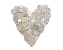 I love money in Australian coins. Australian coins arranged in a heart shape.  All coins are front side up Stock Photography