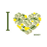I love money and cash. Symbol  heart of dollars and gold coins. Vector illustration Stock Images