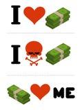 I love money. Dollars love me. Logo for financiers. I do not like cash. Skull symbol of hatred cash. Anti financial emblem stock illustration